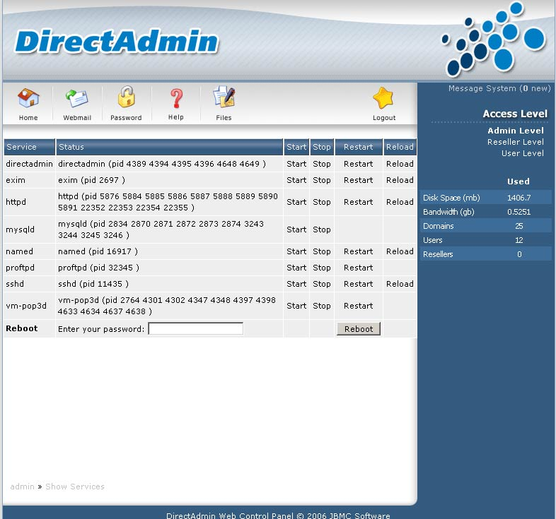 DirectAdmin screenshot